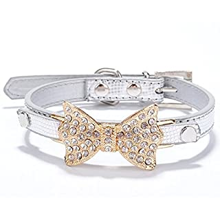 ANKKO Beautiful Crystal Diamond Bow Crocodile Pet Collar Dog Chain For Small/Medium Cats Or Dogs (M, sliver)