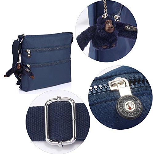 Borsa A Tracolla Da Donna Di Leahward Borsa A Tracolla Grande Con Molte Tasche 00541 (corpo Trasversale Grigio) Croce Blu Scuro