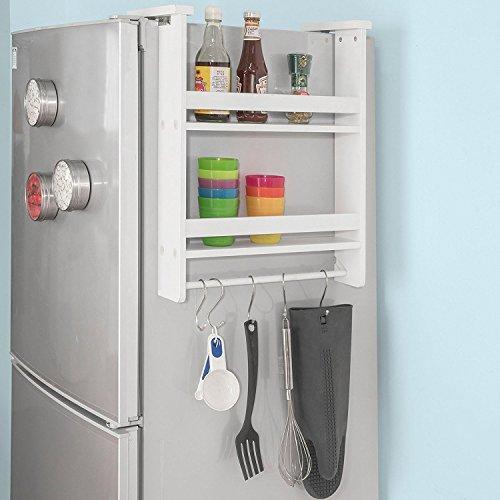 SoBuy FRG149-W Hängeregal für Kühlschrank mit 5 Haken Türregal, Badregal, Küchenschrank mit 2 Ablagen,BHT ca.: 42x50x9cm