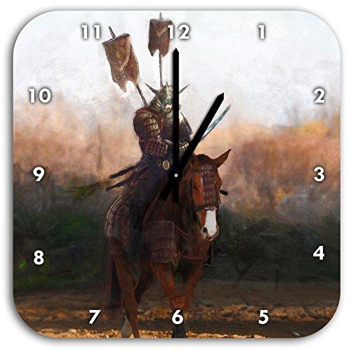 Samurai Kostüm Krieger Muster - Stil.Zeit Samurai Krieger auf einem Pferd, Wanduhr Quadratisch Durchmesser 28cm mit schwarzen Spitzen Zeigern und Ziffernblatt