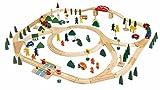 Holzeisenbahn / Eisenbahn . 120 Teile wie z.B. Schienen, Bäume, Fahrzeuge, Brücke, Bahnschranke......