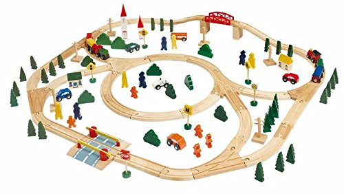 / Stazione Wood. 120 parti come Rails, alberi, automobili, ponti, barriera ferroviaria, ecc ...