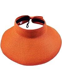 Leisial Mujer Sombrero Sol Gorro Ancho De Sol Color Sólido Diseño Elegante  del Bowknot Casquillo De Paja… 7cb2b20297d