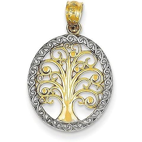 Collana in oro giallo 14 kt, placcati al rodio, a forma di albero della vita