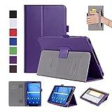 ISIN Housse pour Tablette Série Étui Premium PU avec Support pour Samsung Galaxy Tab A 10.1 de 10,1 pouces SM-T580 T585 Tablette Avec Sangle Velcro et Slot Cartes (Violet)
