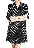 Luna et Margarita Robes Chemise à Pois Noire et Blanche Classique Pull avec Boutons en Mousseline de soie taille XL- 40