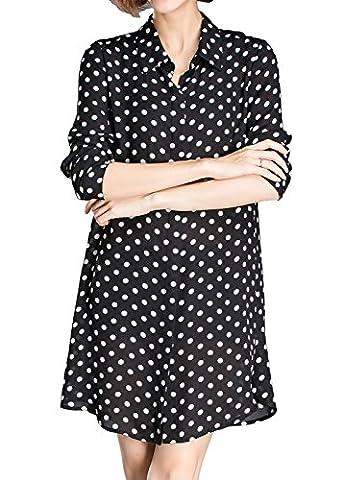 Luna et Margarita Langes Langarm Hemdkleid mit Schwarz-Weiß Tupfen und Hemdkragen Top Größe 52 (Calvin Klein Hemdkleid)