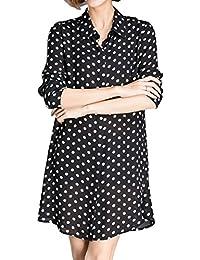 Luna et Margarita La camisa de vestir de la mujer Blanco y Negro de manga larga Guisantes de vestir Mi blusa de cuello largo