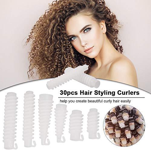 30 pzas rulos pelo mágicos rulos flexibles para rizar pelo, Anself 6 tipo para cabello rizado u ondulado Cabello largo o corto con una caja