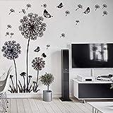 WandSticker4U- Wandtattoo Pusteblumen schwarz Wandsticker Löwenzahn Wandaufkleber Blumen 3D Schmetterlinge Butterfly Pflanzen Wohn-zimmer-Kinder Küche Garderobe Flur Fenster Deko