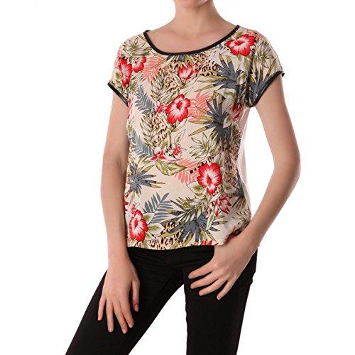 La-Modeuse-bimateria-Camiseta-de-manga-corta-con-un-diseo-tropical-blanco-small
