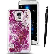 Funda para Samsung Galaxy S5 Neo , SMART LEGEND Dual Layer 3D Líquido Glitter Glitter Shiny Gloss Sparkle Clear Dynamic Quicksand Case Cover Skin Shell Carcasa Funda, Cubierta de la Caja Funda Protectora de Plástico Duro Caso Claro Transparente que Fluye del Brillo de Bling Carcasa Funda Caso + 1 X Stylus Pen - Estrellas Rose