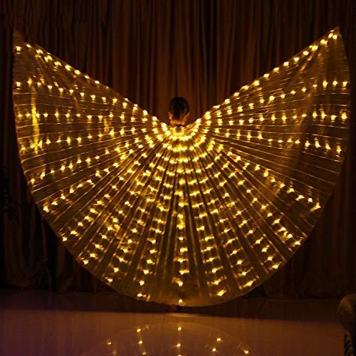 KT Mall Bauchtanz LED Flügel 360 Grad Tanz Requisiten LED Isis Wings Mit Verstellbaren Stöcken Bauchtanz Zubehör Bühnenperformance,Yellow (Shining Dog Kostüm)