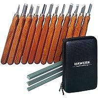 Juego de herramientas de tallado en madera para profesionales y principiantes I 12 piezas. + 3 piedras para afilado + bolsa I por Hawerk