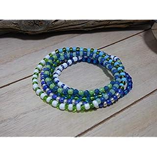Armband Böhmische Glasperlen Perlen Handarbeit Stretch Wickelarmband bunt blau silber Aqua grün weiß Kette Halskette lässig Ibiza Style