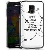 Samsung Galaxy S5 mini Slim Case Silikon Hülle Schutzhülle Reisen Travel Keep Calm