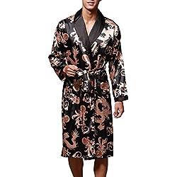 VERNASSA Nuevo Baño para Hombre,Satén Kimono Pijamas, Bata Albornoz de para Dormir/Casa/Cama/SPA, L-XXL, Talla Extra