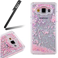 Ukayfe Trasparente Elegante Custodia Protettiva Rigida Caso Ultrasottile Conchiglia Back Cover Hard Flowing liquido Case e Shiny Glitter Bling polvere Love Hearts Skin Fantasia Accessori per Samsung Galaxy A7 con Stilo Penna - Pink sequined love