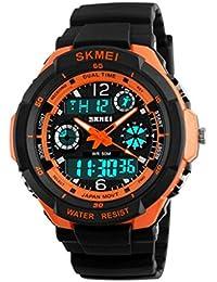 Reloj doble / deportes al aire libre de los hombres / forma electrónica impermeable de la montaña / reloj multi-funcional del salto de la personalidad , large orange