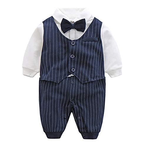 Fairy Baby Baby Outfits Langarm Strampler Jungen Smoking Baby Baumwolle Gentleman Outfit Bowknot Weihnachts/Taufstrampler Kleidung, 59(0-3 Monate), Navy Blau Streifen (Boys Navy Anzüge)