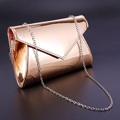 Spiegel Effekt Clutch Abendtasche Handtasche Umhaengetasche Frauentasche Hochzeit Tanzball 3 Farbe rose golden
