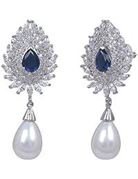 Shaze Rhodium-Plated Blue Tribal Pearl Earring |Earrings For Women|Earrings For Girls|Earrings For Wedding