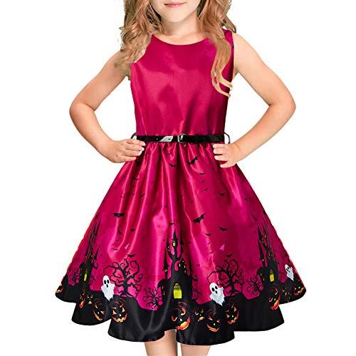 Kostüm Mädchen 1950er Jahre - Idgreatim Mode Mädchen Halloween Kleid Blume Gürtel Vintage Party Urlaub Schaukel Sommerkleid mit Gürtel für Gelegenheit
