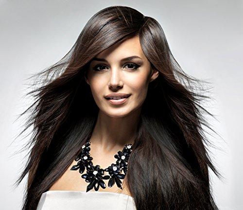 XXL Cadena Collar llamativo lujo Crystal flores espina NUEVO en negro