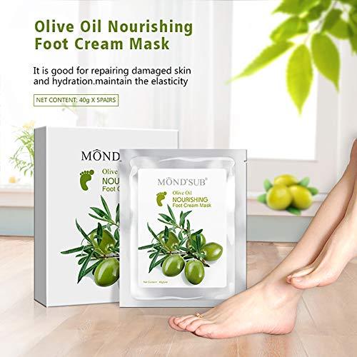 [MOND'SUB] 5 paires d'huile d'olive minérale Masques - Masque Hydratant pied Baby Foot hydratantes Premium - Foor Crack & mort de dépouillage avec riches en vitamine E & A