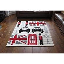 Aspect - alfombra de 120 x 170 cm, polipropileno, diseño retro de bandera británica y Londres, multicolor