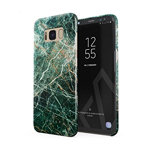 BURGA Hülle Kompatibel mit Samsung Galaxy S8 Handy Huelle Grün Smaragd Juwel Marmor Muster Green Marble Dünn, Robuste Rückschale aus Kunststoff Handyhülle Schutz Case Cover Galaxy Juwelen
