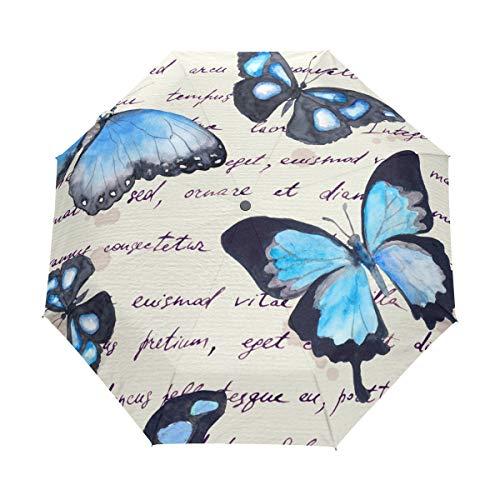Blauer Schmetterling, handgeschriebener Text, Aquarell, automatischer Regenschirm, winddicht, wasserdicht, UV-Schutz, Vintage-Buchstaben-Art, Flügel, Tier-Reise-Regenschirm, kompakt, 3-fach faltbar, automatisches Öffnen/Schließen, für Sonne und ()