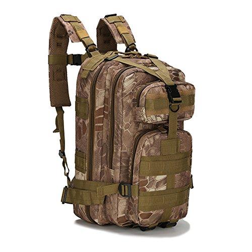 Military Tactical Pack Sports Rucksack Tasche atmungsaktives Netzrückenteil Unisex Frauen Herren Nylon 30L MOLLE Armee Rucksäcke Camping Wandern Trekking military-mad Tasche Kinder Childen Schulranzen Python skin