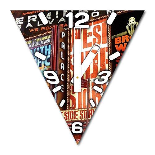 Broadway New York, Design Wanduhr aus Alu Dibond zum Aufhängen, 30 cm Durchmesser, breite Zeiger, schöne und moderne Wand Dekoration, mit qualitativem Quartz Uhrwerk