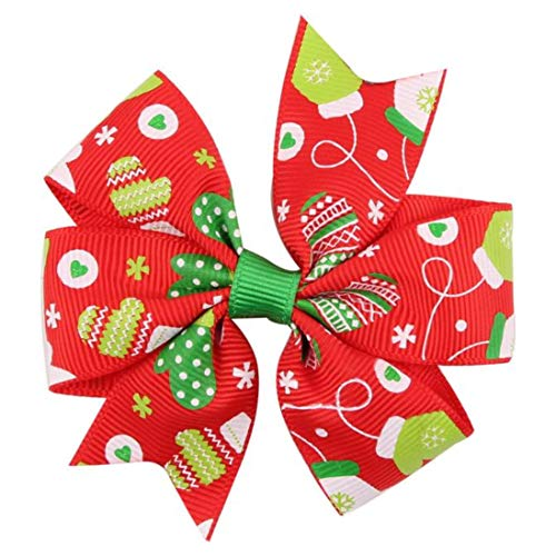 Yvelands Baby Weihnachtsverzierungs-Bowknot-Haarnadel-Kopfschmuck(H,free) -