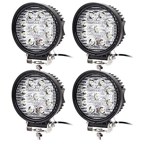 4 pcs Arbeitsscheinwerfer 27W Scheinwerfer LED Wasserdicht Zusatzscheinwerfer mit 9 LEDs 2430 Lumen Reflektor Abstrahlwinkel 30 Grad für SUV, ATV, Offroad, Auto, Boot, Runde, 6000-6500K Wasserdichte Led-scheinwerfer