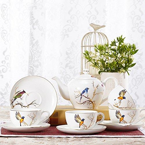 fuf. Mcl 10Birdie Kim albero e 4persona di caffè tea-thick resistente al calore con piante e fiori teiera Tea piastra Flower Tea ,10Piece Kim Tree Birdie 10Head