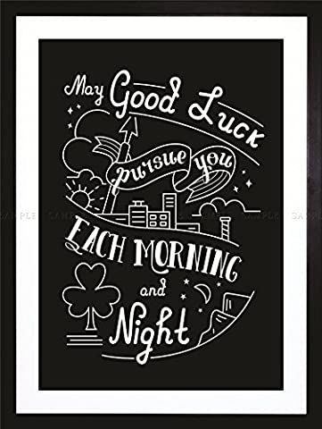 QUOTE TYPOGRAPHY MOTIVATION IRISH GOOD LUCK TOAST FRAMED ART PRINT F97X11305