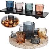 LS Design Holz Teelichthalter-Set Tablett Glas Windlicht Teelicht Kerzentablett 4 Gläser