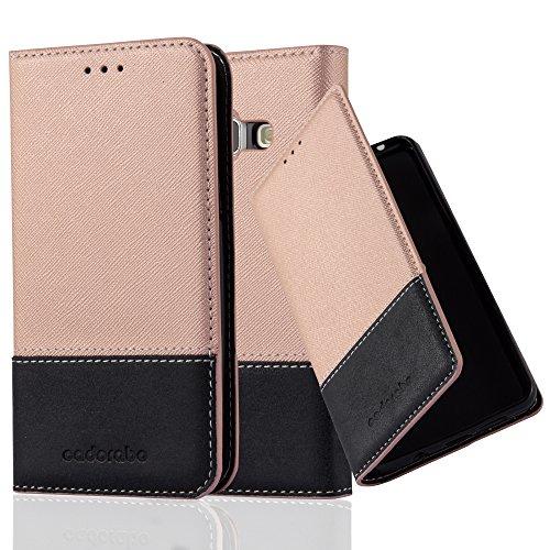 Cadorabo Hülle für Samsung Galaxy J1 2015 (5) - Hülle in Rose Gold SCHWARZ – Handyhülle mit Standfunktion und Kartenfach aus Einer Kunstlederkombi - Case Cover Schutzhülle Etui Tasche Book