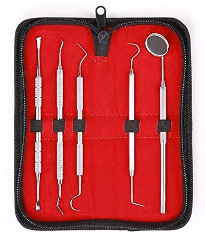 Trousse Dentiste 5 pièces – Set Dentaire - Sondes - Soin des Dents – Acier Inox – Outils – Instruments - Curettes en Acier Inoxydable de qualité professionnelle supérieure de MedTekCo - Garantie à vie
