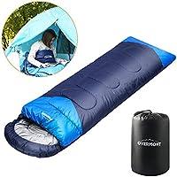 Overmont Saco de dormir momia ligero tres estaciones impermeable contraviento con capucha para camping senderismo montañismo