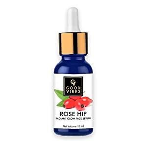 Good Vibes Radiant Glow Face Serum - Rose Hip - 10 ml - Light Weight Hydrating Formula for Skin Brightening - Treats Rough and Uneven Skin - Cruelty Free