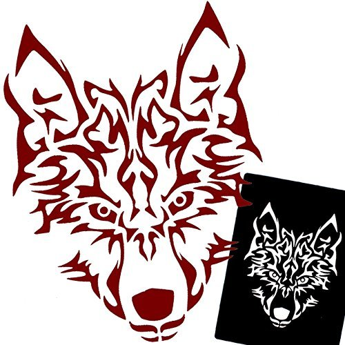 Xmasir 22sheet cool disegno glitter tattoo stencil per uomini, wolf dragon tiger skull animal airbrush stencil e modelli