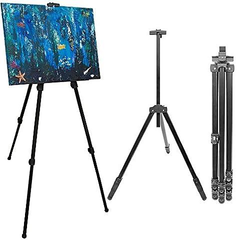 Chevalet en aluminium pour peintres de eyepower | Support trépied pour tableaux et toiles réglable en hauteur de env 57 cm à 180 cm | incl pour sac de transport | Noir