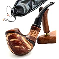 Pear Wood Hand Carved Tobacco Smoking Pipe Ship II + Pouch by Ukrainian souvenir
