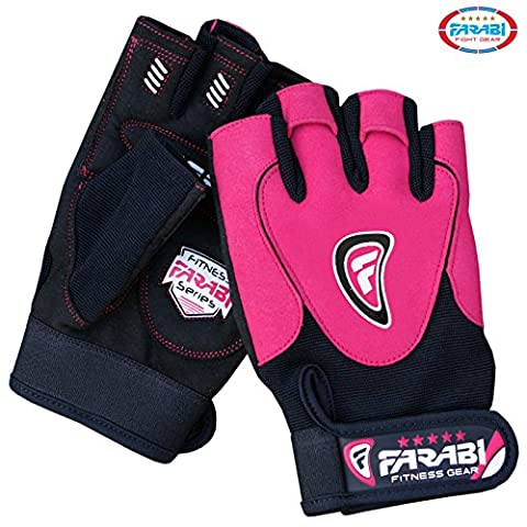 Farabi Gel padded weightlifting strength training bodybuilding gym fitness workout bar weight lifting home gym weighted gloves with weight lifting grip and straps. (Pink, Medium)