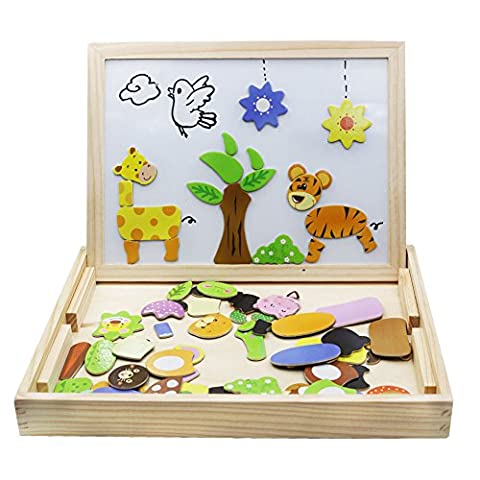 Magnetic Board Puzzle Games 100PCS Wooden Kids Toy For Home Cube Pootack Double Face Jigsaw& Drawing Easel Chalkboard Farm Pattern with Colored Dry Erase