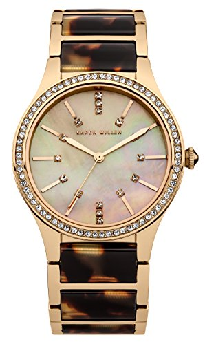 Karen Millen Women's Quartz Watch with Mother of Pearl Dial Analogue Display and Two Tone Stainless Steel Rose Gold Plated Bracelet KM128GM