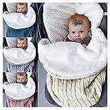 Quner Baby Gestrickt Wickeln Swaddle Kuscheldecke Schlafsack weiche warme Fleece gefüttert für 0-12 Monat Baby (Weiß)